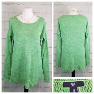 Gap L Green White Space-Dyed Long Tunic Sweater